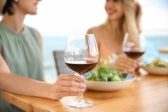 Jeunes femmes avec des verres de vin Photos stock