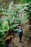Jeunes femmes blondes avec le sac à dos bleu marchant par la plantation de banane sur l'itinéraire de trekking à la vallée de Pau Photographie stock