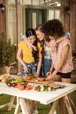 Jeunes femmes coupant les légumes frais au pique-nique Images stock