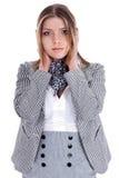 Jeunes femmes d'affaires fermant ses oreilles Photographie stock