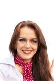Jeunes femmes de sourire d'isolement sur le blanc Image stock