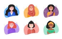 Jeunes femmes de sourire de différentes nationalités illustration libre de droits