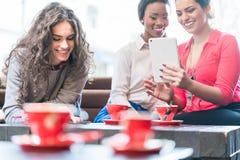 Jeunes femmes en café prenant le selfie Images stock