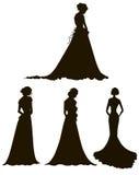 Jeunes femmes en longues silhouettes de robes brides contour illustration stock