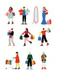 Jeunes femmes et hommes portant des sacs à provisions avec des achats réglés, des personnes achetant au vecteur de magasin, de ma illustration de vecteur