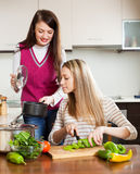 Jeunes femmes faisant cuire la nourriture Image libre de droits