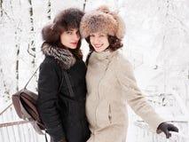Jeunes femmes heureuses adorables de brune tenant des mains dans le chapeau de fourrure ayant la forêt neigeuse de parc d'hiver d Images libres de droits