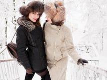Jeunes femmes heureuses adorables de brune tenant des mains dans le chapeau de fourrure ayant la forêt neigeuse de parc d'hiver d Photos libres de droits
