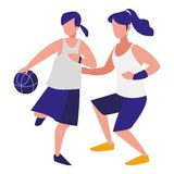 Jeunes femmes jouant le basket-ball illustration de vecteur