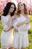 Jeunes femmes magnifiques dans la robe élégante posant dans le jardin avec des blos Image stock