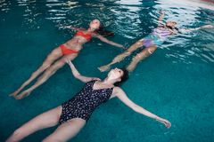 Jeunes femmes minces s'exerçant dans le dos de natation de piscine dessus Image libre de droits