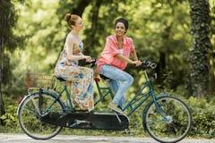 Jeunes femmes montant sur la bicyclette tandem photo libre de droits