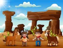 Jeunes fille et cowboy indiens de bande dessinée avec l'animal dans le désert illustration de vecteur