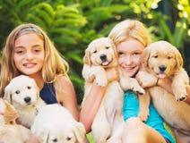 Jeunes filles avec des chiots de bébé Images stock