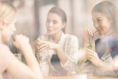 Jeunes filles buvant des cocktails ensemble tout en se reposant à la table en café Photos stock