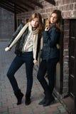 Jeunes filles contre un mur de briques Photo libre de droits