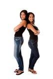 Jeunes filles de Hppy de nouveau au dos Photo libre de droits