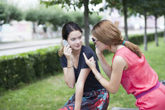 Jeunes filles de sourire avec le téléphone portable se reposant sur un banc en parc Images stock