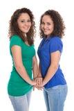 Jeunes filles de sourire d'isolement : vrais enfants de mêmes parents jumeaux tenant les mains t Photographie stock