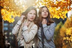 Jeunes filles en stationnement d'automne Images libres de droits