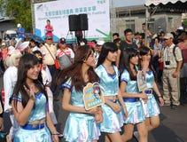 Jeunes filles habillées vers le haut de comme des caractères de bande dessinée Photo libre de droits