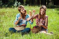 Jeunes filles heureuses avec une corbeille de fruits sur la nature Images stock