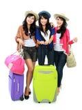Jeunes filles heureuses partant en vacances Image libre de droits