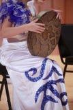 Jeunes filles jouant des tambours de peau de serpent Photographie stock libre de droits