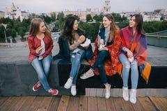 Jeunes filles joyeuses passant le bon temps ensemble Image stock