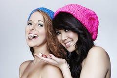 Jeunes filles posant dans le studio Photographie stock libre de droits