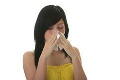 jeunes froids de femme d'allergie Photos libres de droits