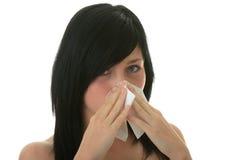 jeunes froids de femme d'allergie Images libres de droits
