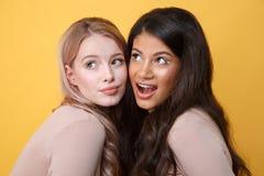 Jeunes gais deux dames se tenant au-dessus du fond jaune Photo stock