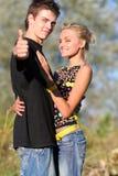 Jeunes garçon et fille mignons de couples Photos libres de droits
