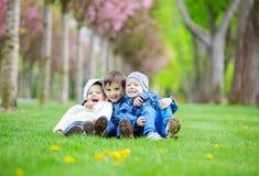 Jeunes garçons s'asseyant sur l'herbe parc et en riant Photo libre de droits