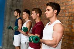 Jeunes hommes beaux s'exerçant avec des haltères Images libres de droits
