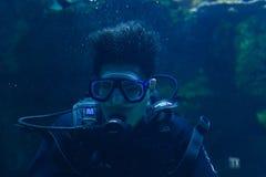Jeunes hommes en nourriture de alimentation d'aquarium à se rassembler des poissons en monde Bangkok d'océan photo libre de droits