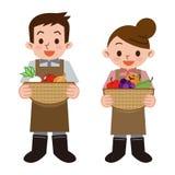 Jeunes hommes et agriculteurs de femmes illustration stock