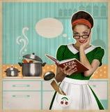Jeunes jolies cuisinières de femme au foyer dans la cuisine Rétro carte sur la vieille PA Images stock
