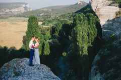 Jeunes juste ménages mariés heureux posant sur le dessus de la montagne Images libres de droits