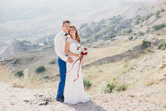 Jeunes juste ménages mariés heureux posant sur le dessus de la montagne Photographie stock libre de droits