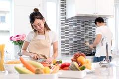 Jeunes légumes asiatiques de tranche de coupe de femme faisant à salade la nourriture saine Photos libres de droits