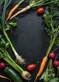 Jeunes légumes de ressort sur le tableau noir d'en haut Image stock
