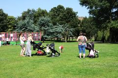 Jeunes mères et enfants en bas âge en parc Image stock