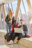 3 jeunes métis de groupe d'étudiants d'entrepreneurs ou d'adultes autour Photos stock