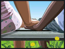 Jeunes mains de fixation de couples Images libres de droits