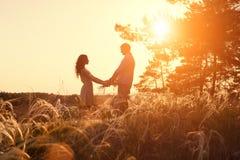 Jeunes mains de fixation de couples Dans le lever de soleil de nature Images libres de droits