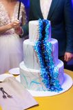 Jeunes mariés à la réception de mariage coupant le gâteau de mariage avec des fleurs Photo libre de droits