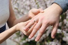 Jeunes mariés échangeant des anneaux de mariage Photos stock