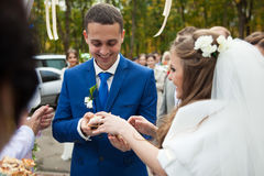 Jeunes mariés élégants heureux de brune à la réception dans une recherche Images libres de droits